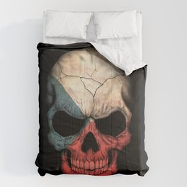 Dark Skull with Flag of Czech Republic Comforters