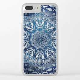 Indigo Nouveau Shibori Mandala Clear iPhone Case