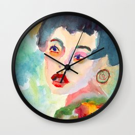 Joyce with Big Earrings Wall Clock