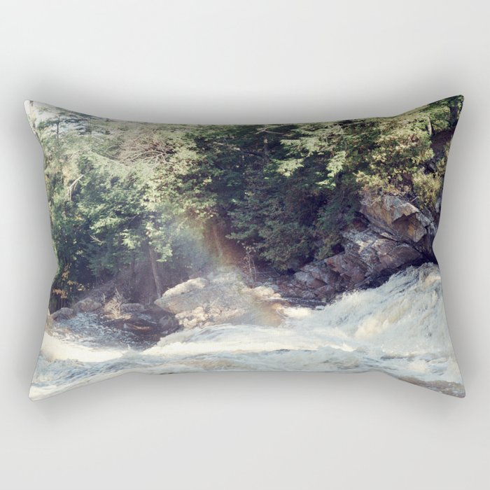 a rainbow at the falls Rectangular Pillow