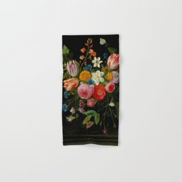 """Jan van Kessel de Oude """"Tulips, peonies, chicory, carnations, cherry blossom and other flowers"""" Hand & Bath Towel"""