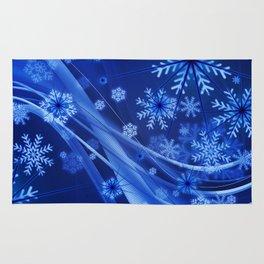 Blue Snowflakes Winter Rug
