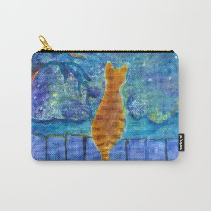 Cat on a fence in the moonlight Carry-All Pouch