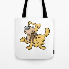 HAPPY DOG WITH TOY Doggy Puppy funny Cartoon Comic Tote Bag