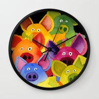 pigs Wall Clocks featuring Fun Pigs by Hans Wilhelm
