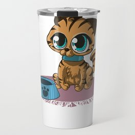 Brown Cat with Stripes and Beanie Eyes Travel Mug