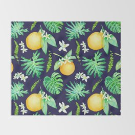 Citrus Tropics - Midnight Throw Blanket