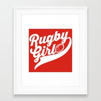 rugby Framed Art Prints featuring RUGBY by frail