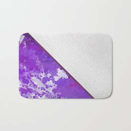 Abstract violet lilac white watercolor paint splatters Bath Mat