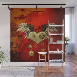 Wonderful steampunk heart with wings Wall Mural