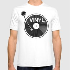 Vinyl Record SMALL Mens Fitted Tee White