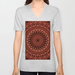 Brown and red tones mandala Unisex V-Neck