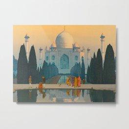 Morning Mist in Taj Mahal Vintage Beautiful Japanese Woodblock Print Hiroshi Yoshida Metal Print