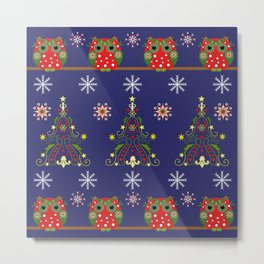 Pattern design with Christmas owls, trees and snowflakes Metal Print