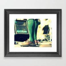Green socks Framed Art Print