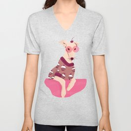 Cherry on Top - Greyhound Wearing a Cupcake Patterned Sweater Unisex V-Neck