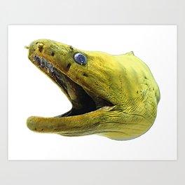 Moray Eel Face Fish Yellow Radioactive Silver Eye Art Print