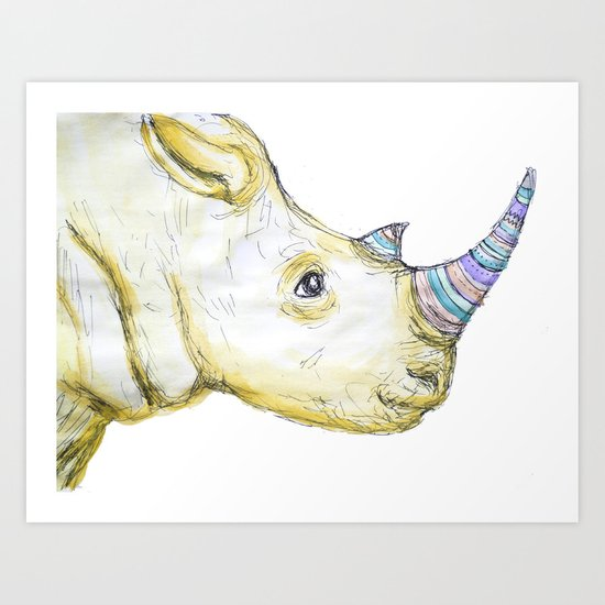 Striped Rhino Illustration Art Print