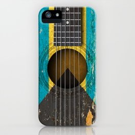 Old Vintage Acoustic Guitar with Bahamas Flag iPhone Case