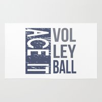volleyball Area & Throw Rugs featuring Ace It Volleyball (blue) by raineon