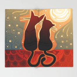 couple of cats in love on a house roof Throw Blanket
