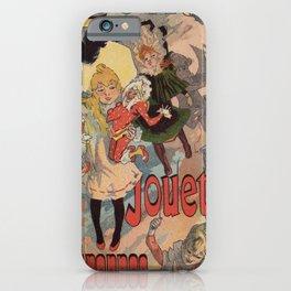 Vintage belle epoque toy store Paris vertical banner iPhone Case
