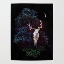 Magic white deer on moon phase dream Poster