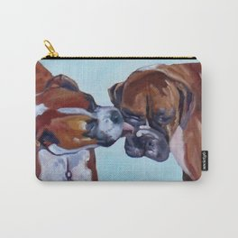 Kissing Boxers Dogs Portrait Carry-All Pouch