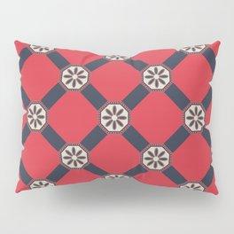 Novos começos Floral Portuguese Azulejo Tile Seamless Pattern Pillow Sham
