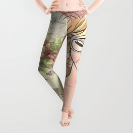 Girl with Lipstick Collage Leggings