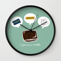 wallet Wall Clocks featuring Wallet by Corrie Bates