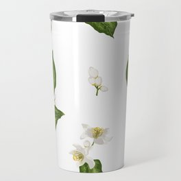 Citrus Flower Pattern with Spring Flowers and Leaves Travel Mug