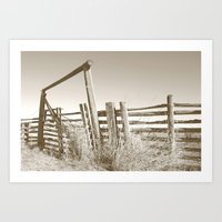The Old Corral_Sepia Art Print