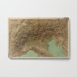 Vintage Map of Northern Italy (1899) Metal Print