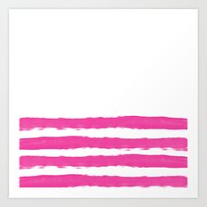 Simply hand-painted pink stripes on white background -Mix and Match Art Print