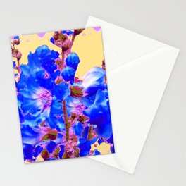 Blue & Purple Holly Hocks Pattern Yellow Floral Art Stationery Cards
