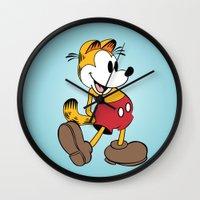 garfield Wall Clocks featuring Mickey x Garfield  by Nicholas Hyde