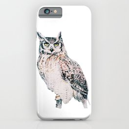 Great Horned Owl - watercolour bird portrait iPhone Case