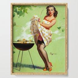 Smoke Screen Vintage Pin-up Girl Serving Tray