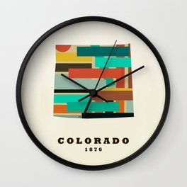 colorado state map modern Wall Clock