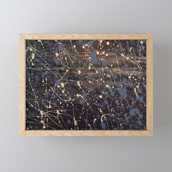 New York. Graffiti, Abstract, Blue, Purple, Pollack, Jodilynpaintings, Splatter Framed Mini Art Print