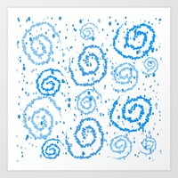 Abstract Blue Squigglisciousness Art Print
