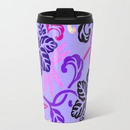 Lavender Japanese Leaf Pattern Travel Mug
