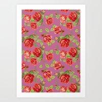 Rose pattern- pink Art Print