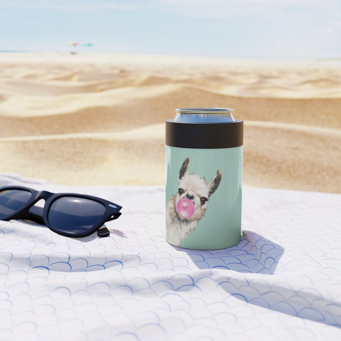 Bubble Gum Sneaky Llama in Green Can Cooler