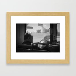 Old Man On The Bus Framed Art Print
