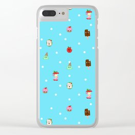 Sad Food by Squibble Design - Repeating Pattern on blue polka dot background Clear iPhone Case