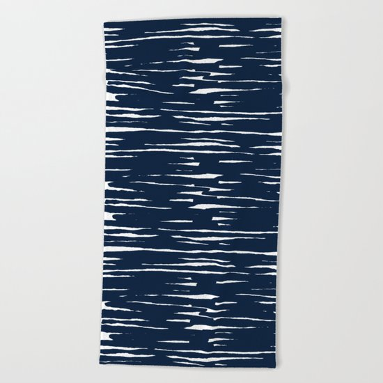 Maritime pattern- darkblue handpainted stripes on clear white- horizontal Beach Towel