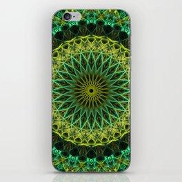 Golden and green mandala iPhone Skin