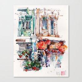 Shophouse Windows at Bukit Pasoh, Singapore Canvas Print
